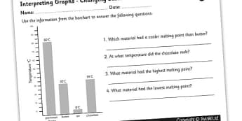 Interpreting Melting Point Graph Worksheet - melting points, menting points worksheet, heating materials, melting points graph worksheet, ks2 science, ks2