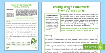 Short /i/ spelt as  'y'   Freddy Frog Homework Activity Sheet