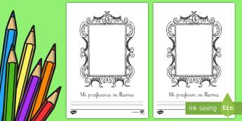 Ficha de actividad: Mi profesor nuevo - mi profesor nuevo, ficha, dibujar, dibujo, profe, clase nueva, aula nueva, colegio nuevo, cole nuevo
