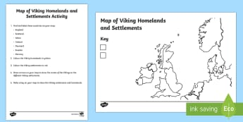 Viking Invasion Map Activity - Viking Invasion Map - Vikings, England, invasion, invasion map, map, history, longboat, Scandinavian