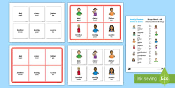 Family Members Bingo English/Portuguese - Ourselves, All about me, family, Ks1, Y1, Year 1, EYFS, Reception, Growing, growth, eal