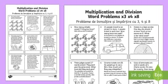 Year 3 Multiplication and Division Word Problems x3 x4 x8 Activity Sheet English/Romanian - KS2 Maths, word problems, multiplication tables, times tables, 3x, 4x, 8x, division,Romanian-transla