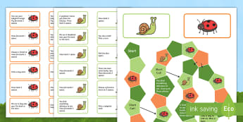 KS1 Minibeasts Board Game - snail, ladybird, Year One, Year 1, Y1, Year Two, Year 2, Y2, EYFS, early years foundation stage, rec