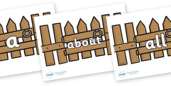 100 High Frequency Words on Fences - High frequency words, hfw, DfES Letters and Sounds, Letters and Sounds, display words