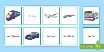 Verkehrsmittel Wort- und Bild- Memory Karten - Verkehrsmittel, Transport, DAF, DAZ, Memory Karten, German