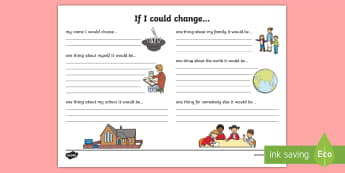 If I Could Change... Reflection Writing Template - reflection, writing template, if i could change, S.P.H.E., feelings