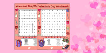 Valentines Day Word Search - valentines day, valentine, wordsearch