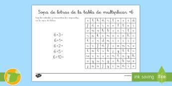 Ficha de actividad: Sopa de letras - Tabla de multiplicar x6 - tabla de multiplicar, múltiplos, sopa de letras, ficha, mates, matemáticas, multiplicar, multiplic