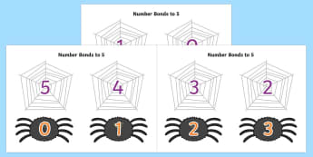 Number Bonds to 5 on Spiders and Webs - number bonds, 5, spiders, webs, halloween, minibeast