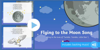 Flying to the Moon Song PowerPoint - EYFS, Early Years, Whatever Next, Jill Murphy, space, rocket, moon, stars, Baby Bear.