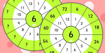 6 Times Table Wheel Cut Outs - visual aid, maths, numeracy