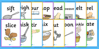 Cooking Actions Display Posters - cooking, cooking actions, posters, display, banner, weighing, pouring, chopping, kneading