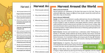 Harvest Around the World Differentiated Reading Comprehension Activity