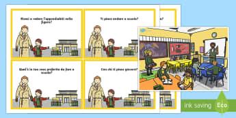 Scena Scolastica e Schede Domanda - scena, scolastica, domande, risposta, illustrazione, bambini, italiano, italian