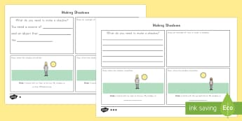 Making Shadows Assessment Differentiated Activity Sheets - US, shadow, light, dark, sun, science