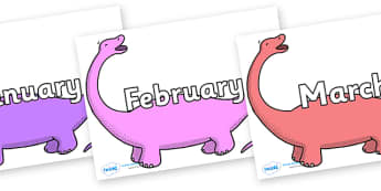 Months of the Year on Apatosaurus to Support Teaching on Harry and the Bucketful of Dinosaurs - Months of the Year, Months poster, Months display, display, poster, frieze, Months, month, January, February, March, April, May, June, July, August, Septe