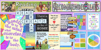 Reading Corner Area Display Pack KS2 - reading corner, area, display