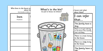 What's In The Rubbish? Making Inferences Activity Polish Translation - SEN, Inference, inferential question, inferential questions, inferrence
