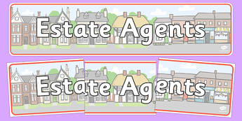 Estate Agents Display Banner - Estate Agents Role Play Pack, banner, estate agents, for sale, to let, house, properties, apartment, bungalow, cottage, semi-detached, tarraced, role play, display, poster