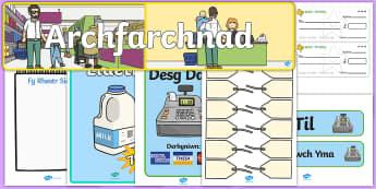 Pecyn Chwarae Rôl Archfarchnad - chwarae rol, bwyd, archfarchnad, siop, siop fwyd,Welsh