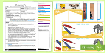 EYFS Light as a Feather  Adult Input Plan and Resource Pack - The Crunching Munching Caterpillar, Sheridan Cain, life cycle of a butterfly, weight, heavy, light,