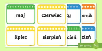 Karty Nazwy miesięcy - miesiące, miesięcy, nazwy, styczeń, luty, marzec, kwiecień, maj, czerwiec, lipiec, sierpień, wr