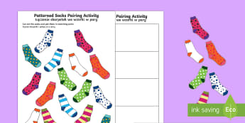 Patterned Socks Pairing Activity - English/Polish - patterns, matching, pairs, sock, pattern ,Polish-translation