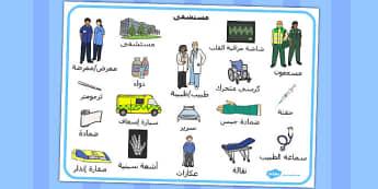 بساط كلمات المستشفى - مفردات في المستشفى