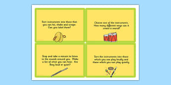 KS1 Music Challenge Cards - Music, Challenge, Cards, Notes, Sound