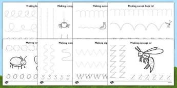 Minibeast Theme Pencil Control Worksheets - worksheets, worksheet, pencil control worksheets, pencil control, fine motor, minibeast worksheets, minibeast