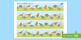 Rectas numéricas: Los dinosaurios de 1 40 Recta numérica - Dinosaurios, pre-historia, dinos, tiranosaurio, estegosaurio, triceratops, proyectos, aprendizaje ba