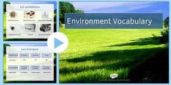 L'environnement Présentation du vocabulaire - french, L'environnement Pr