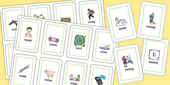 SW Flash Cards - sw sound, flash cards, flashcards, sound, activity