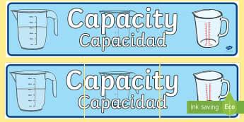 Capacity Display Banner English/Spanish - Capacity Display Banner - displays, banners, measure, visual aid, capactiy, capasity, capcity, capac