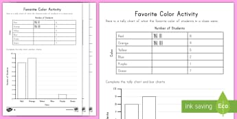 Favorite Color Tally and Bar Chart Activity Sheets - survey, tally, bar graph, color, measurement and data, data, worksheets