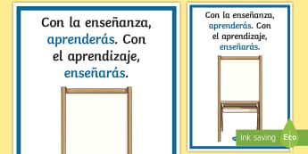 Póster DIN A2: Con la enseñanza aprenderás - póster, poster, pósters, DIN A2, enseñanza, enseñarás, aprendizaje, aprenderás, motivación, m