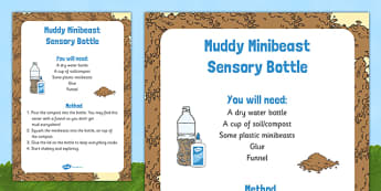 Muddy Minibeast Sensory Bottle - EYFS, spider, bugs, snails, ants, caterpillar, butterfly, bee, beetle, woodlouse