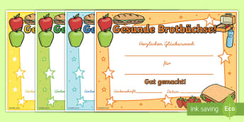 Gesunde Brotbüchse Zertifikate - Gesunde Brotbüchse, Gesunde Ernährung, Ernährungskunde, Zertifikat, Urkunde, Gesundes Essen,Germa