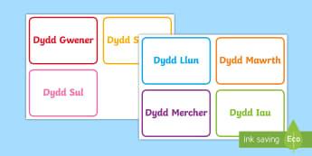 Dyddiau'r Wythnos Cardiau Fflach - Dyddiau'r Wythnos, Days of the Week, Dydd Llun, Dydd mawrth, Dydd mercher, Dydd Iau, Dydd Gwener, D