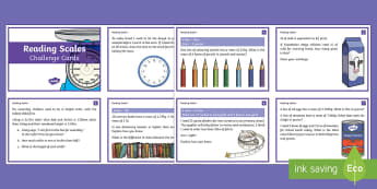 UKS2 Maths Reading Scales Challenge Cards - UKS2, Upper Key Stage Two, Upper Key Stage 2, Maths, scales, Understand and use approximate equivale