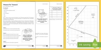 Measure for Treasure Game  Activity Sheets - KS3/4 Maths Volume, Bearings, Back Bearings, Perpendicular Bisector, worksheets, Angle Bisector, Loc