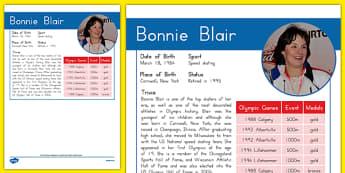 USA Olympians Bonnie Blair Fact File