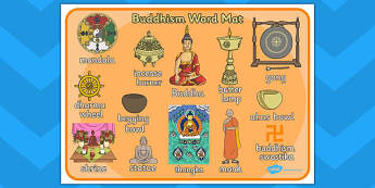 Buddhism Word Mat - buddhists, visual aid, keywords, religion, RE