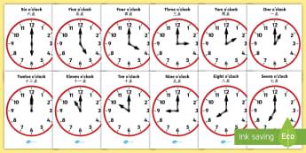 Analogue Clocks Hourly O' Clock Poster English/Mandarin Chinese - Analogue Clocks - Hourly O' Clock - Time resource, Time vocaulary, clock face, O'clock, half past,