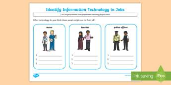KS1 Identify Information Technology in Jobs Activity - KS1, computing, information technology, world, teacher, police officer, nurse, IT
