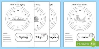 World Clocks Time Activity Pack - world clocks, timezones, international time zones, labels, clocks, games, measures, time,Irish
