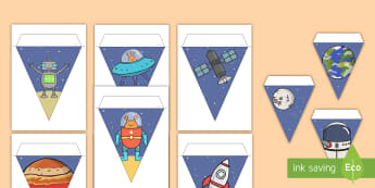 Space Themed Display Bunting -  bunting, decorations, display, display bunting, space bunting, space, outer space