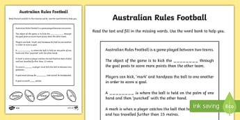 Australian Rules Football Differentiated Cloze Activity Sheets
