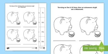 Money Activity Sheet Gaeilge - ROI -Money (Airgead), money, airgead, coins, euro, cent, piggy bank,,Irish