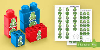 Frogs and Lily Pads to 10 Matching Connecting Bricks Game - EYFS Connecting Bricks Resources, duplo, lego, life cyles, tadpoles, spring, count, order, match, re